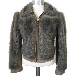 Vintage Faux Fur Crop Bomber Jacket Coat Leather S